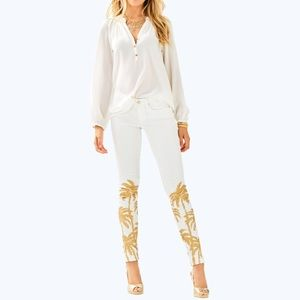 Lilly Pulitzer palm tree pants gold desert jeans